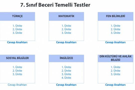 MEB 5.6.ve 7.Sınıflar Beceri Temelli Testler
