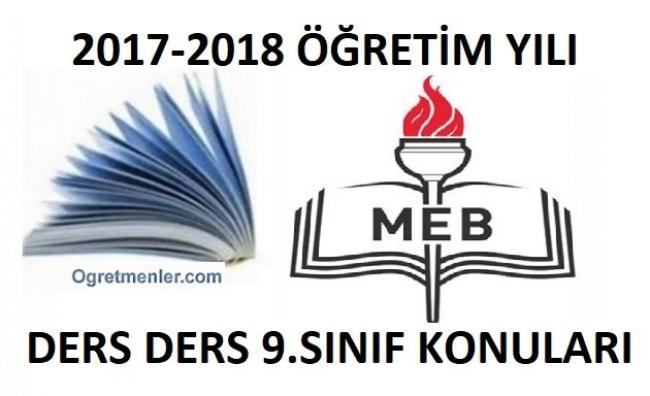 2017-2018 Yılı 9.Sınıf Müfredatı-Konuları - Tüm Dersler
