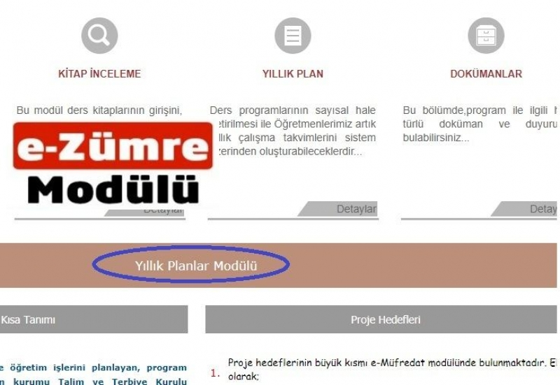 E-Müfredat e-Zümre Toplantıları Bilgilendirme Ekranı