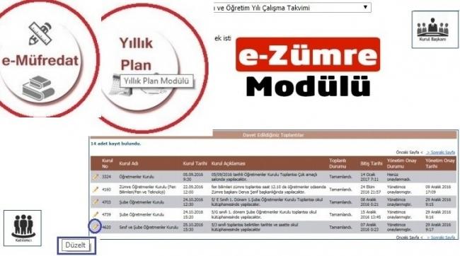 e-Müfredat Zümre Toplantı Bilgilendirme İşlemleri