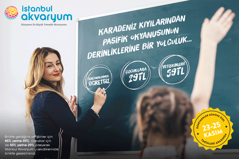 İstanbul Akvaryum Öğretmenlere Ücretsiz