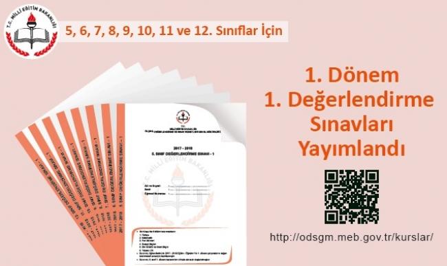 MEB 2017-2018 Yılı 5 , 6, 7, 8, 9, 10, 11 ve 12. Sınıflar 1. Değerlendirme Sınavları