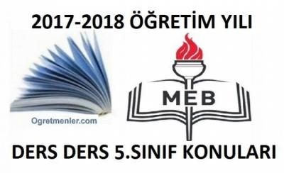 2017-2018 Yılı 5.Sınıf Müfredatı-Konuları - Tüm Dersler