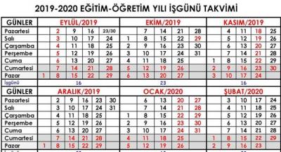 2019-2020 Eğitim ve Öğretim Yılı İş Günü Takvimi