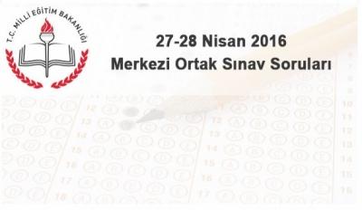 27-28 Nisan 2016 TEOG 2.Dönem Merkezi Ortak Sınav Soruları ve Cevapları