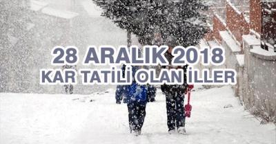28 Aralık 2019 Cuma Kar Tatil Olan İller