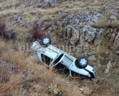 Öğretmenleri taşıyan otomobil takla attı: 2 yaralı